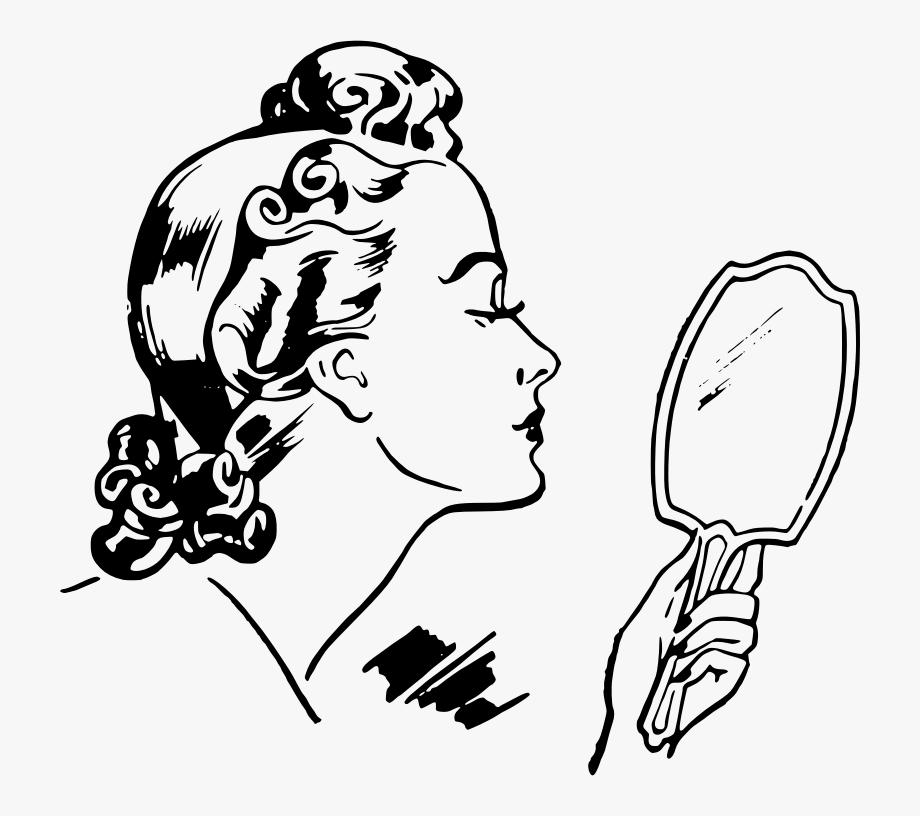 Retro Woman Looking Mirror Clip Art.