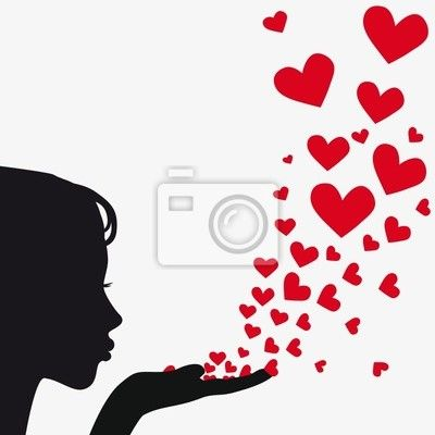 Silhouette woman blowing heart Wall Mural • Pixers®.