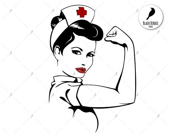 Nurse, strong woman inspired by Rosie the Riveter silhouette.