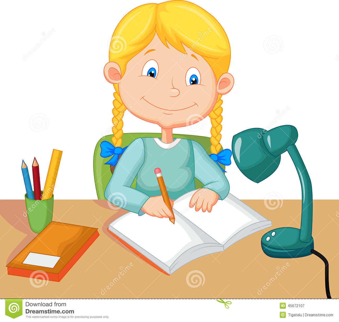 Female Student Studying Clipart.