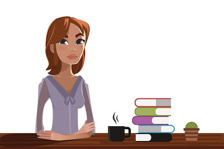 Woman studying Clipart Image.