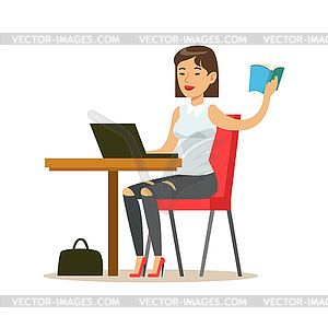 Woman Studying Copying of Book To Lap Top, Smiling.