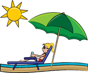 Summer Clipart ,a Woman Sunbathing.