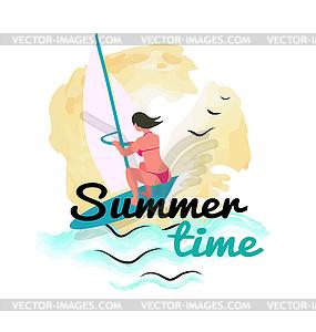 Summer Time Woman Windsurfing, Seaside Resort.