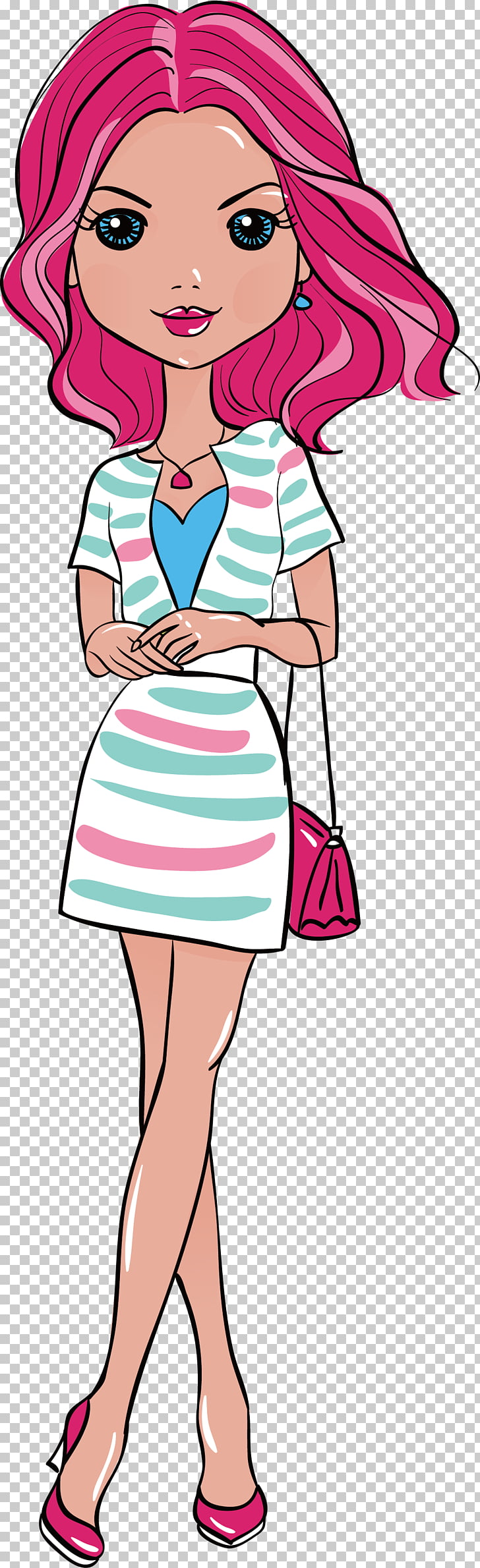 Fashion Girl , Summer red hair girl, pink haired woman PNG.