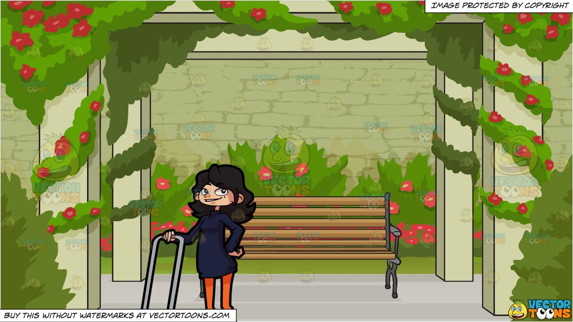 A Smiling Woman With Her Lawn Mower and Bench In A Rose Garden Background.
