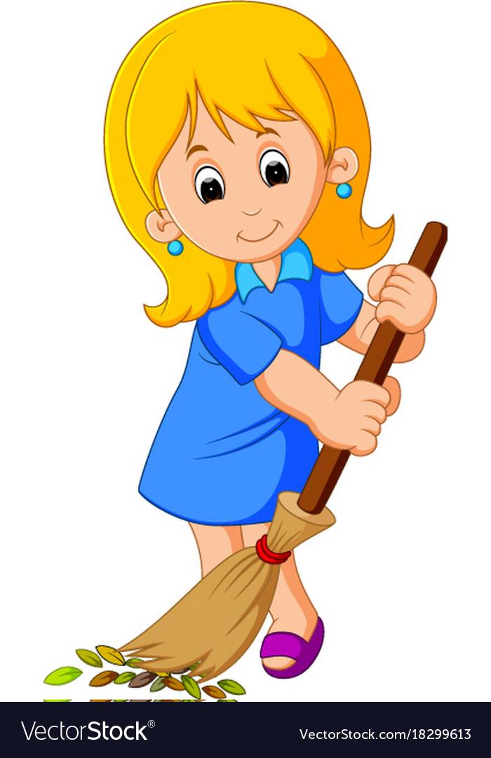 Young girl sweeping.