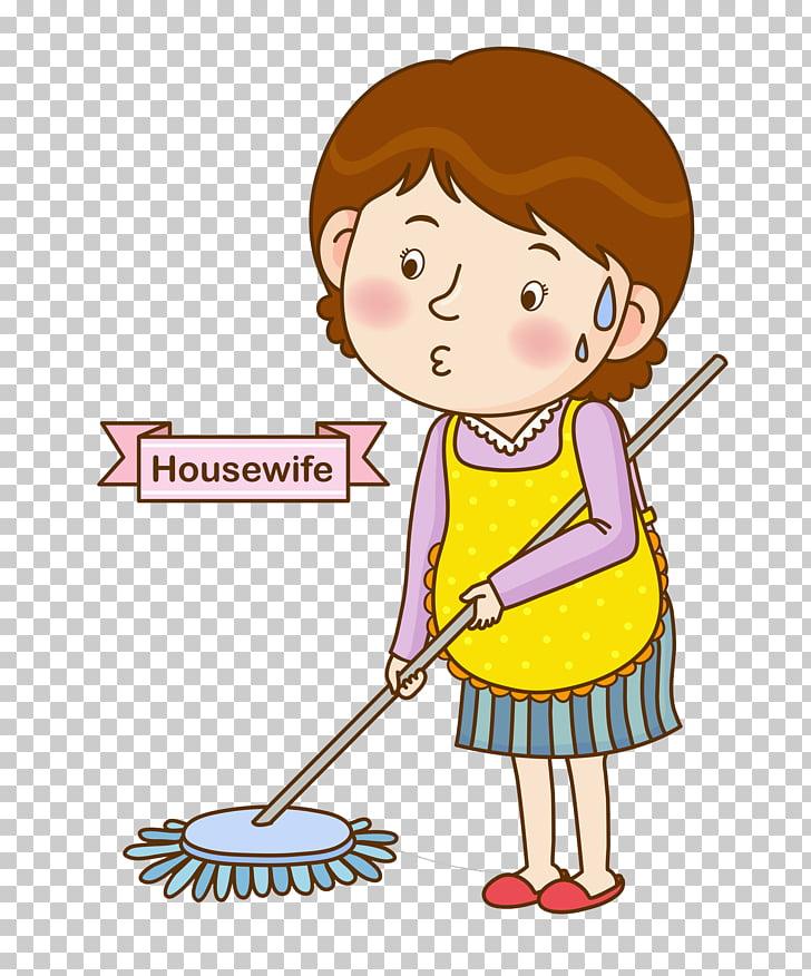 Floor Cartoon Illustration, Woman sweeping the floor PNG.
