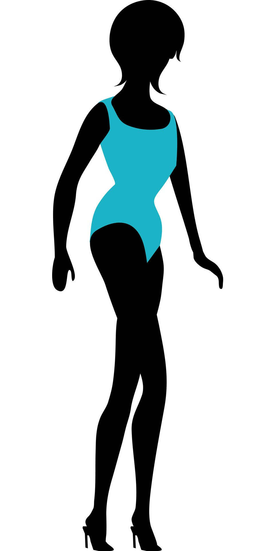 Girl woman lady black silhouette blue swimming costume.
