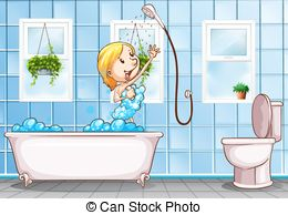Taking shower Stock Illustration Images. 436 Taking shower.
