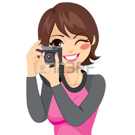 Clipart Images Of Woman Taking Camera Pictures.