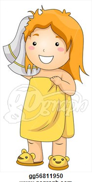 Clipart Of Woman Taking A Shower.