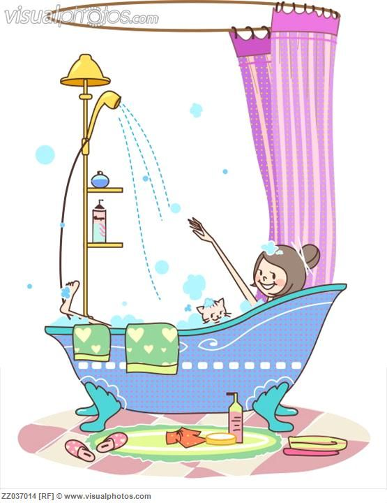 Woman taking bath in a bathtub with her cat.
