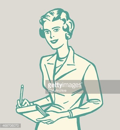 Woman Taking Notes Clipart Image.