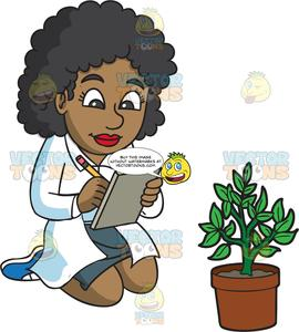 A Female Botanist Taking Notes About A Plant She Is Studying.