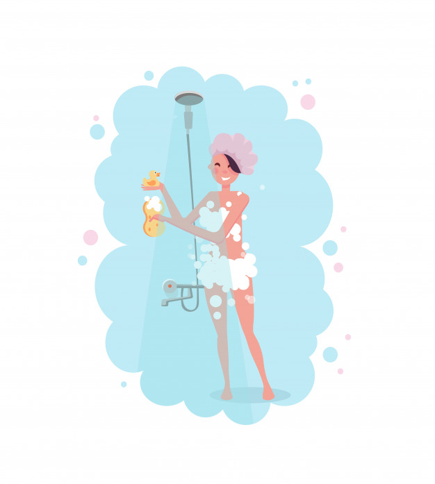 Clipart of a happy young woman in shower cap taking a shower.