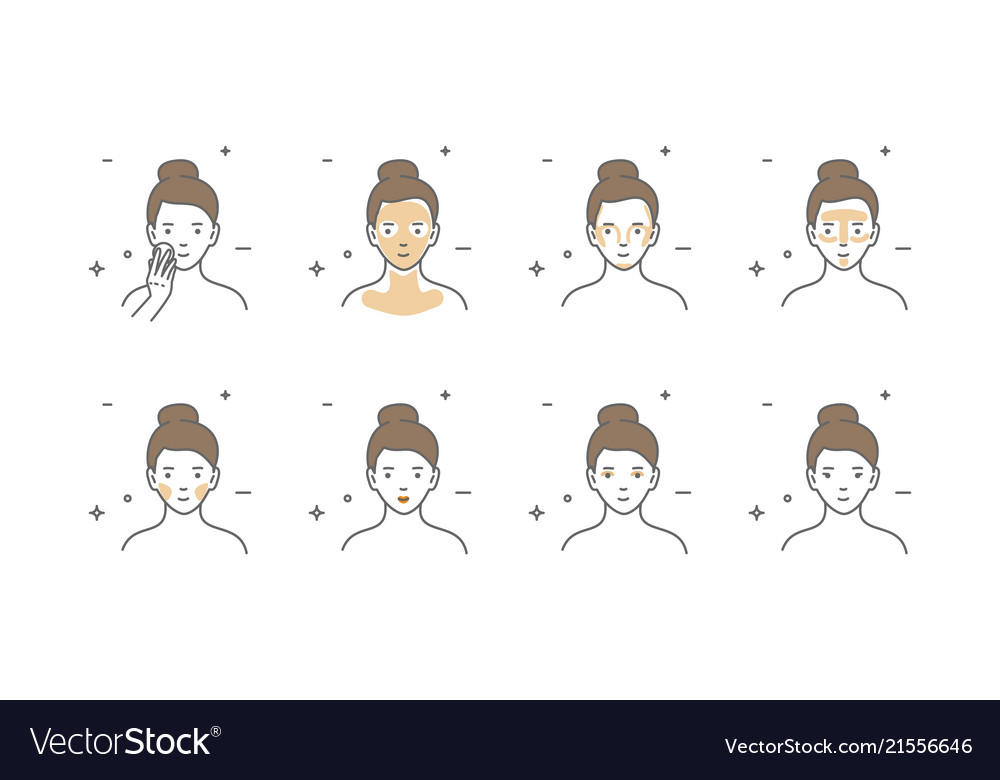 Woman take care about face steps how to apply.