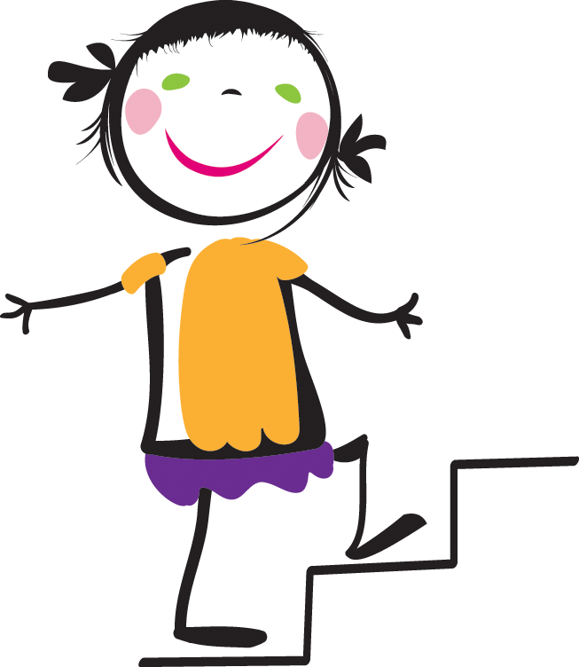 Woman Climbing Stairs Clipart.
