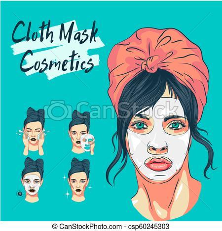 masking, sketch of cosmetics, girl uses face masks.