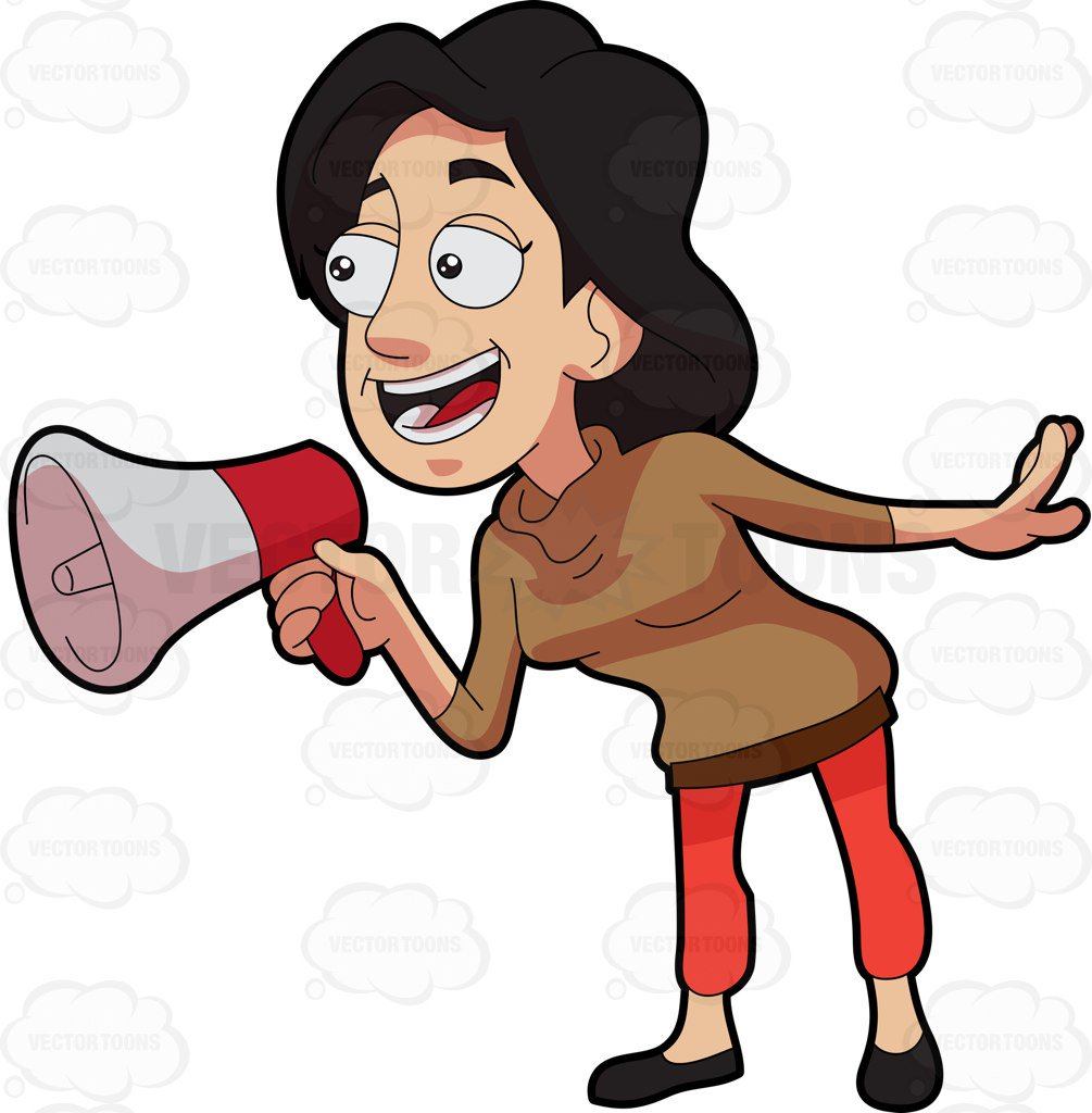 Woman With Megaphone Clipart.