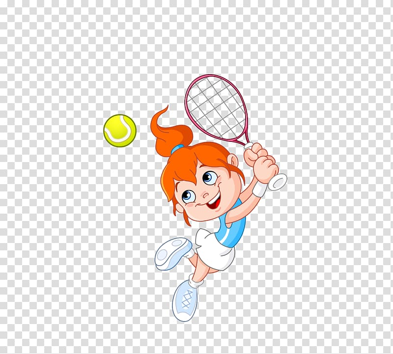 Tennis Girl Racket Cartoon, girls play tennis transparent.