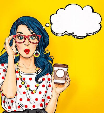 Pop Art girl with coffee cup in glasses vector art.