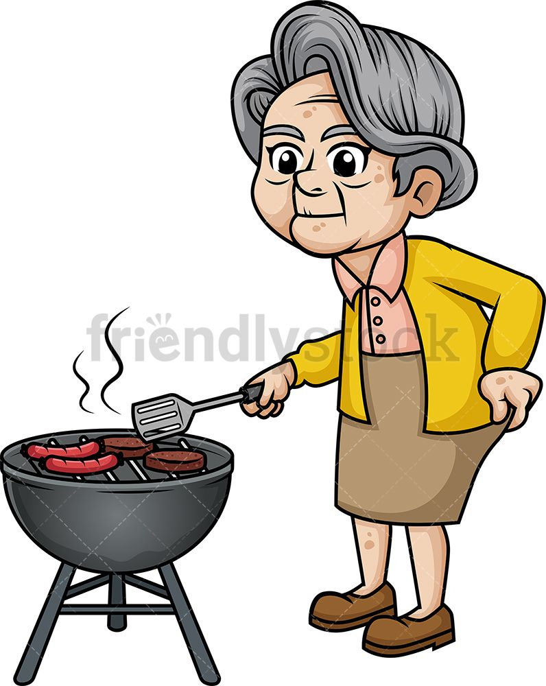 Old Woman Barbecuing.