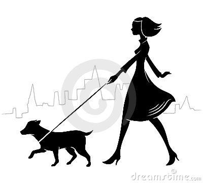 Woman Umbrella Walking Dog Silhouette Clipart