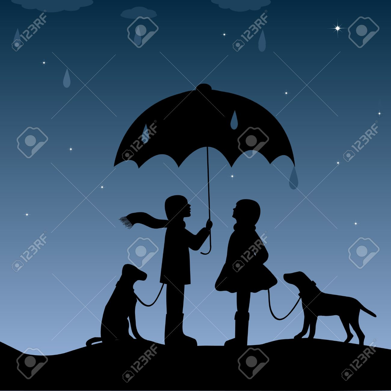 Dog And Girl With Umbrella Silhouette Pictures to Pin on ...