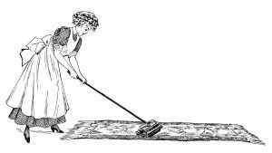 Cleaning Day Lady Vacuuming ~ Free Vintage Clip Art.