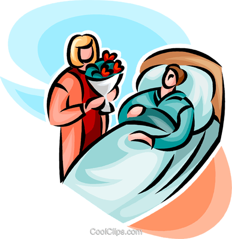 woman visiting hospital Royalty Free Vector Clip Art.