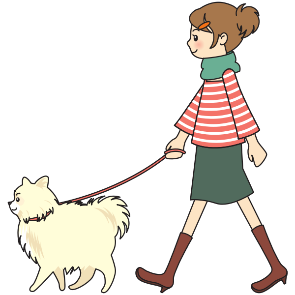 Woman walking a dog.