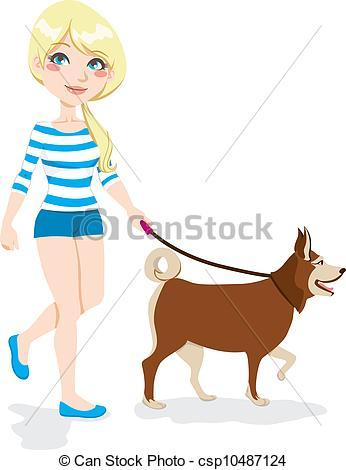 Girl walking dog clipart 1 » Clipart Portal.