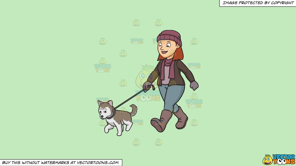 Clipart: A Woman Walking Her Siberian Husky Puppy on a Solid Tea Green  C2Eabd Background.
