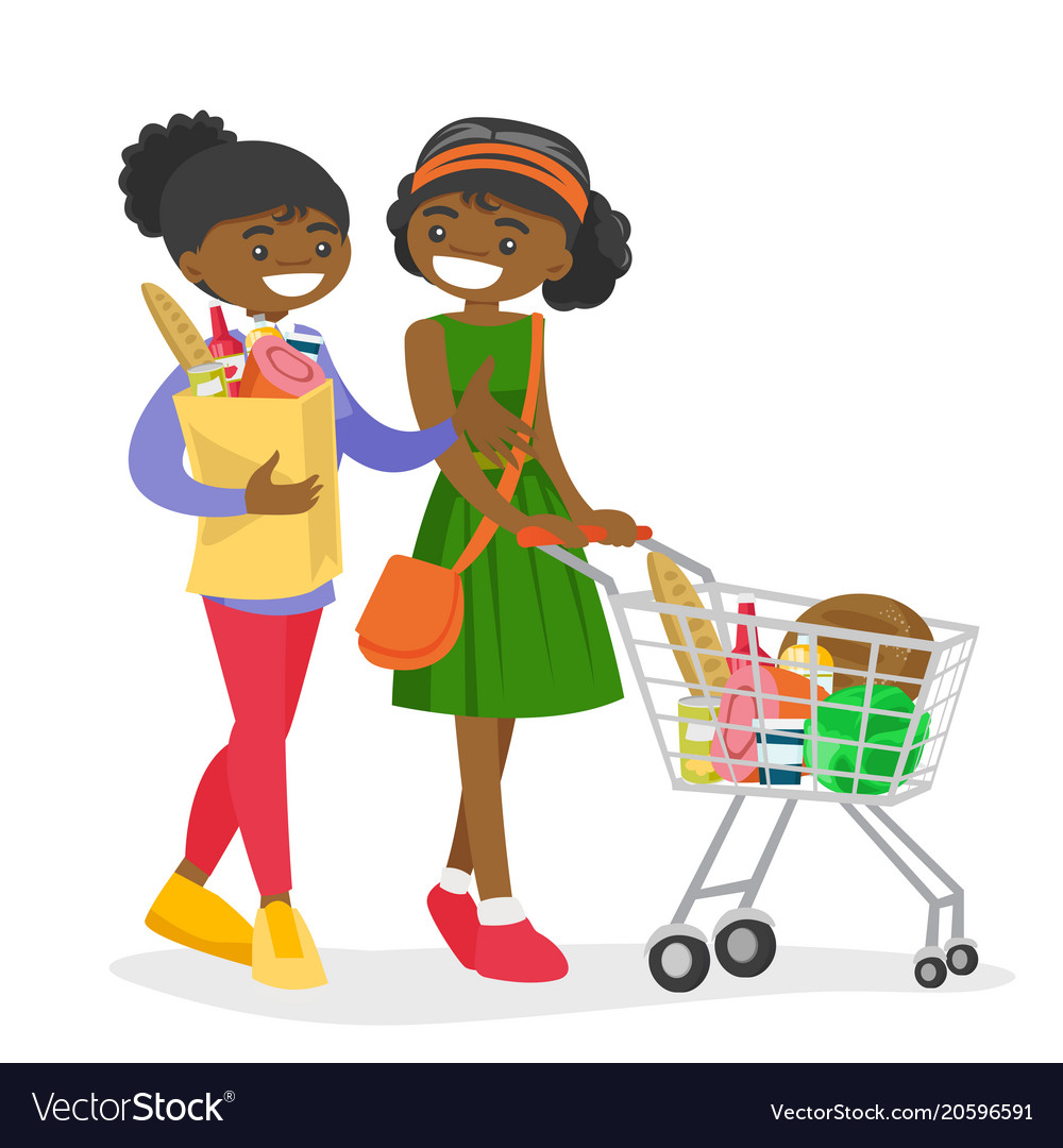 African women doing shopping at the grocery shop.