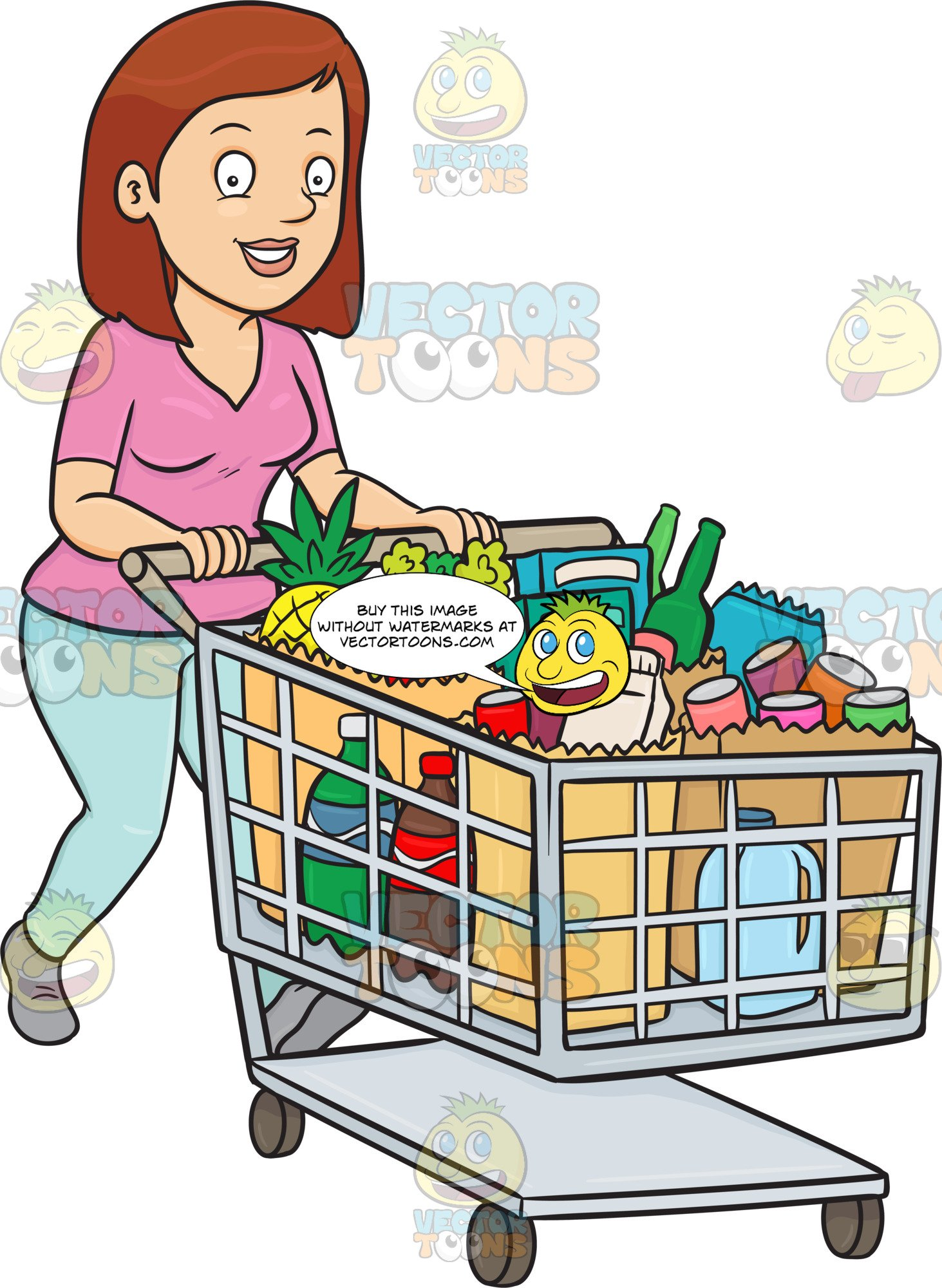 A Woman Smiles After Checking Out At The Supermarket With Her Grocery Items.