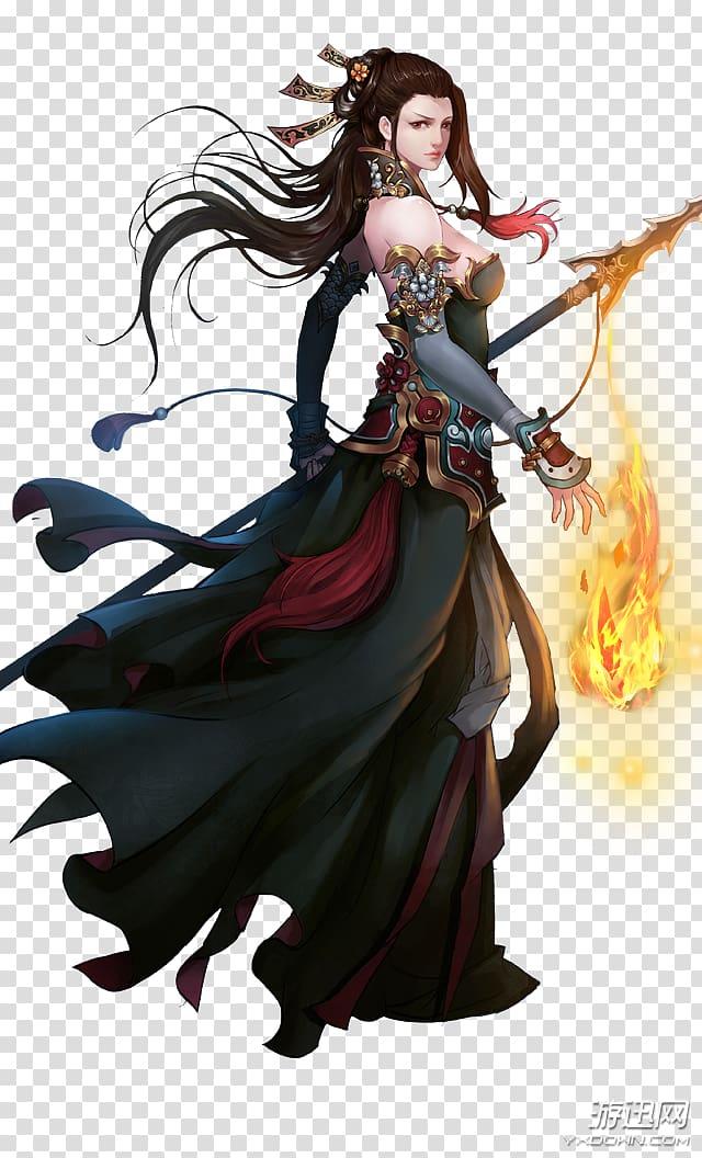 Elegant female warrior transparent background PNG clipart.