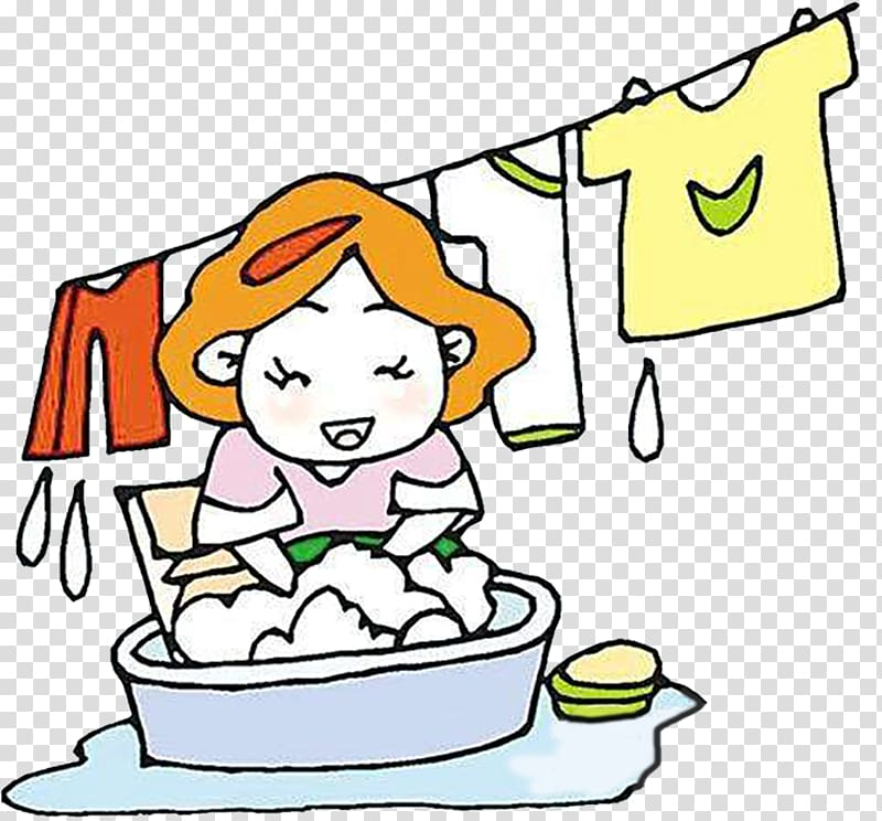 Woman washing clothes , Cartoon Washing Clothing Laundry.