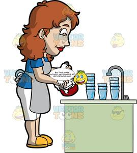 A Woman Washing Up After Dinner.