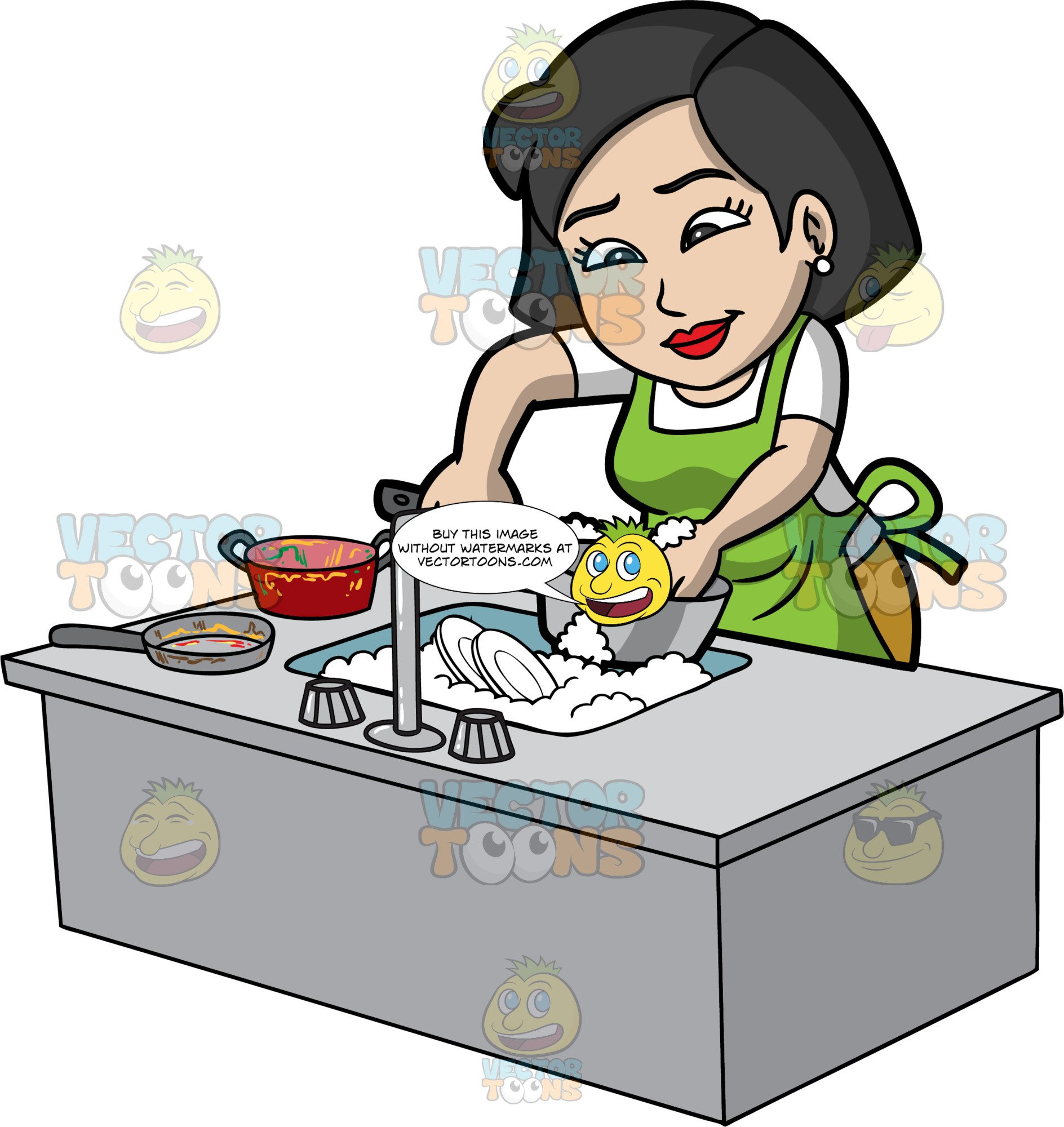 A Woman Washing Pots And Pans.