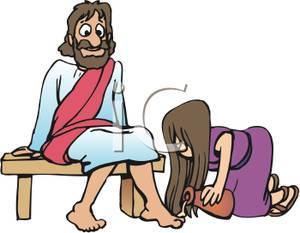 Mary Washing the Feet of Jesus.