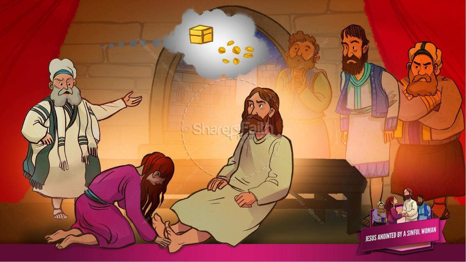 Luke 7 Woman Washes Jesus Feet Kids Bible Story.