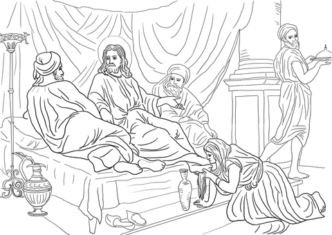 Woman Washing Jesus Feet with Her Hair coloring page.