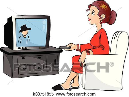 Vector of woman watching television. Clipart.