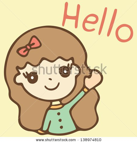 Woman Waving Hello Clipart.