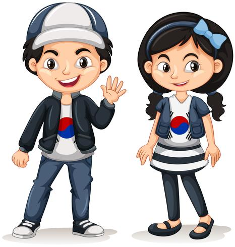 South Korean boy and girl.