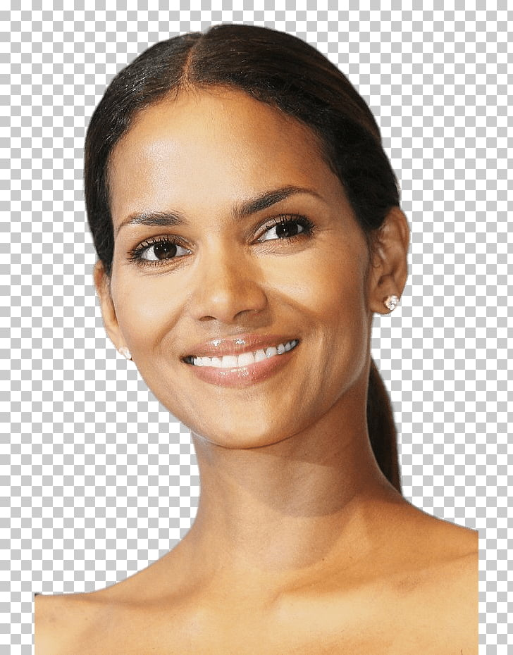 Halle Berry Portrait, smiling woman wearing stud earrings.
