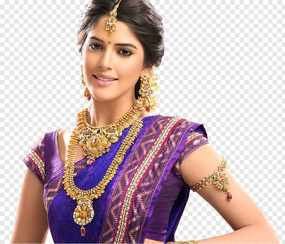 Woman wearing purple traditional Indian dress, Jewellery.