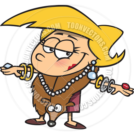 Cartoon Rich Woman Wearing Jewelry by Ron Leishman.