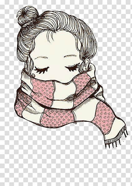Vintage, woman wearing scarf illustration transparent.